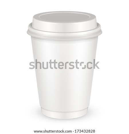 White Disposable Paper Cup With Lid. Container For Coffee, Java, Tea, Cappuccino, Dessert, Yogurt, Ice Cream, Sour Sream Or Snack. Ready For Your Design. Product Packing Vector EPS10  - stock vector