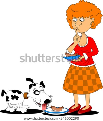 white dog ready to eat a large sausage, vector - stock vector