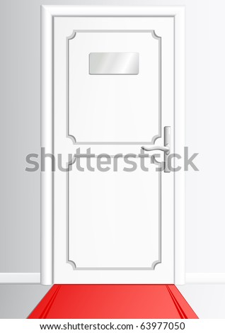 White door with the silvery tablet without an inscription and with a red carpet - stock vector