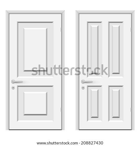 White doors isolated on white background vector illustration. - stock vector