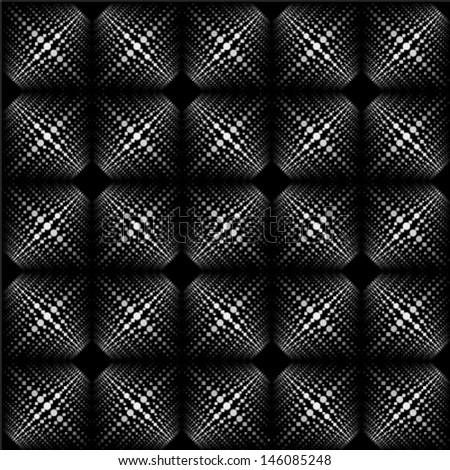 white dots geometric pattern on black background, seamless textured background - stock vector