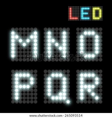 white dotted LED display letter. Vector illustration - stock vector