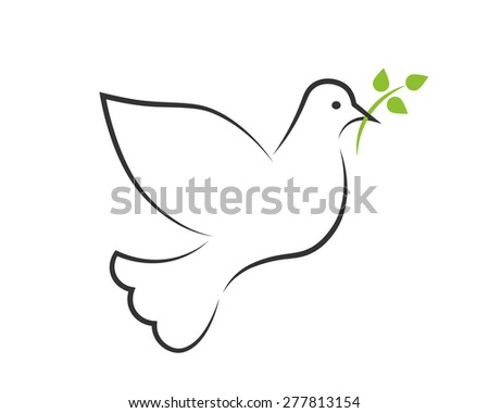 White dove contour with a green branch