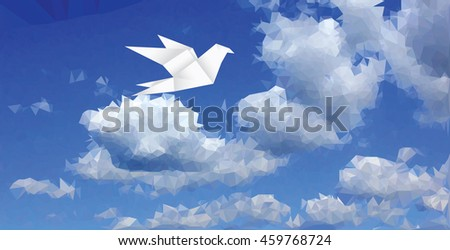 white dove in clouds, low poly abstract background, vector illustration