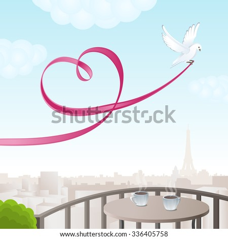 White dove with pink ribbon in the form of heart. A romantic view of Paris. Vector illustration. - stock vector