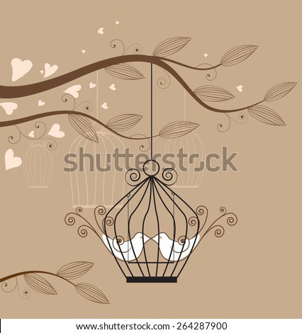 White doves in a cage vector illustration  - stock vector