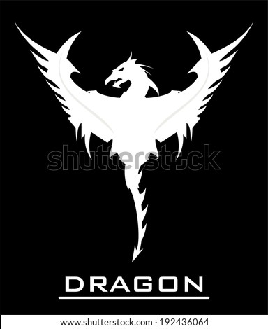 White dragon over the black background, spread out its wing - stock vector