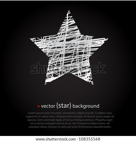 White drawn vector star on black background - stock vector