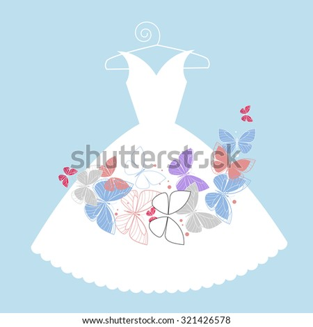 White dress on hanger with butterflies  - stock vector