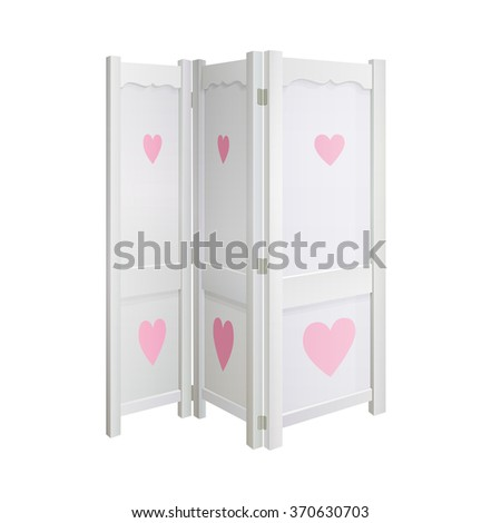 White Dressing Room Divider Pink Hearts Stock Vector 370630703