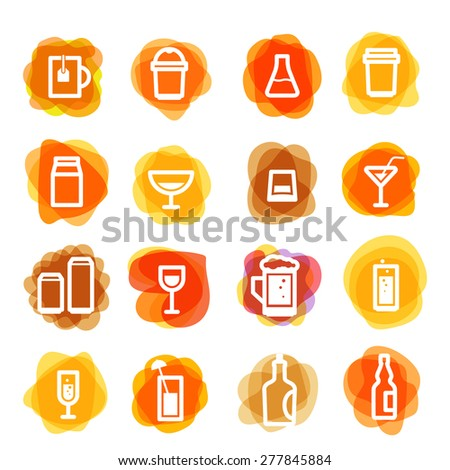 White drink icons clip-art on color blots. Design elements - stock vector