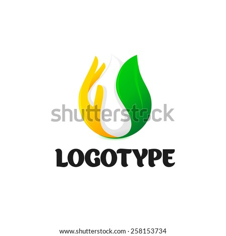 White drop of milk. Green fresh leaf. Orange supports palm. Vector beautiful logo for dairy products. - stock vector