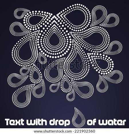 White drops on dark background - stock vector