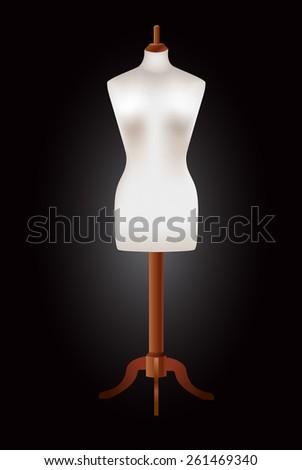 White dummy on a black background. mannequin. vector illustration.