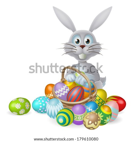 White Easter bunny rabbit with a basket of colorful chocolate Easter eggs - stock vector
