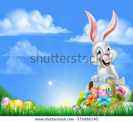White Easter bunny with a basket full of decorated chocolate Easter eggs in a field  - stock vector