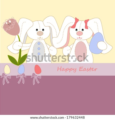 white easter rabbits with eggs - stock vector