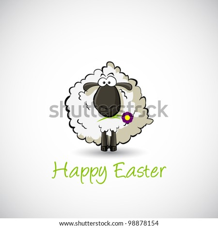 White easter sheep on white background. Vector - stock vector