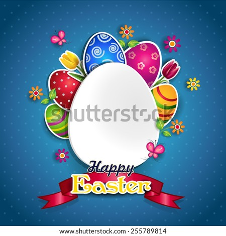 White egg and colors where you can insert your own text-transparency blending effects and gradient mesh EPS 10. - stock vector