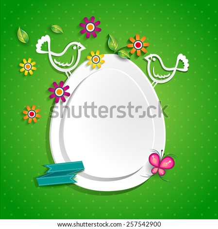 White egg with doves where you can insert your own text-transparency blending effects and gradient mesh-EPS 10. - stock vector