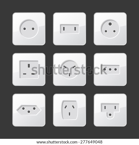 White Electric Outlet Sockets Set. Vector - stock vector