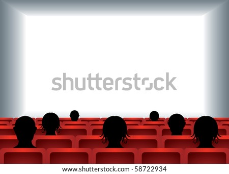 white empty cinema screen with people sitting on red seats in cinema hall - stock vector