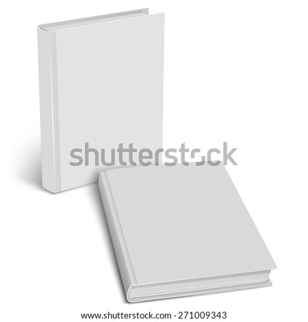 White empty cover closed book mock up on a white background. Vertical and horizontal view. Vector illustration. Product mockup. Vector EPS10