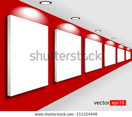 white empty large banners on exposition - stock vector