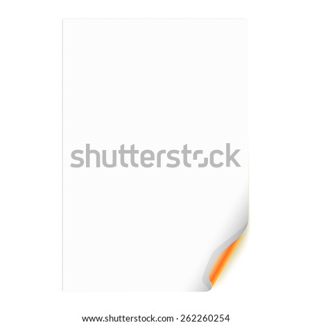 White Empty Paper Sheet with Orange Curled Corner. Vector Illustration - stock vector