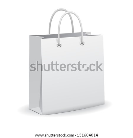 White empty paper shopping bag, vector - stock vector
