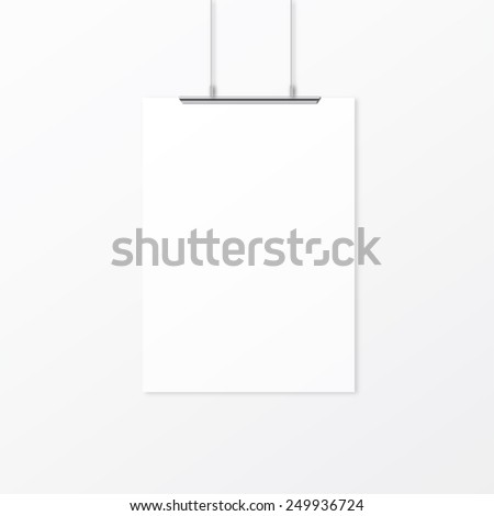 White empty paper with clips on the wall - stock vector