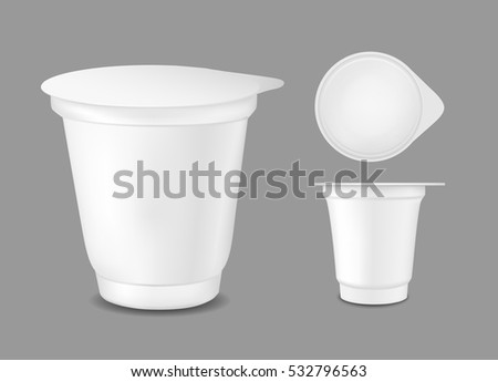 White Empty Plastic Container Yogurt Packaging Stock ...