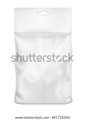 White empty plastic packaging. Blank sachet with hang slot.