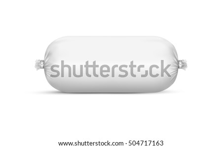 White empty plastic packaging for sausage and food. Vector mockup EPS10