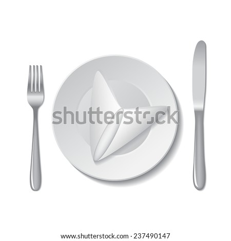 White empty plate with fork and knife on a white background. Vector illustration.