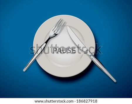 White empty plate with fork and knife on light blue tablecloth, Pause concept, Illustrator, Vector - stock vector