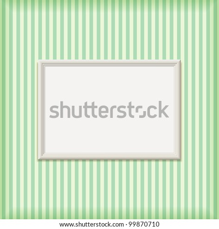 White Empty Ribbed Frame on Striped Wall. Vector Illustration with Copy-Space for Message - stock vector