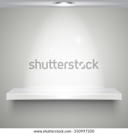 White empty shelve with illumination isolated on white wall. vector illustration - stock vector