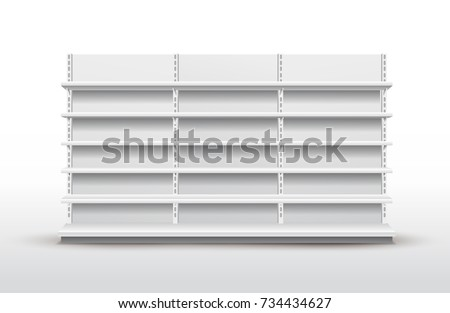 White empty store shelves. Retail shelf rack. Showcase display. Mockup template ready for your design. Vector illustration. Isolated on white background
