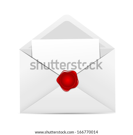 White Envelope Icon with Red Wax Seal Vector Illustration  - stock vector