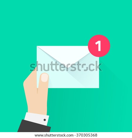 White envelope letter with counter notification, postman hand, concept of incoming email message, mail delivery service, newsletter announcement flat modern vector illustration design isolated - stock vector