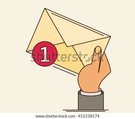 White envelope letter with counter notification, postman hand, concept of incoming email message, mail delivery service - stock vector