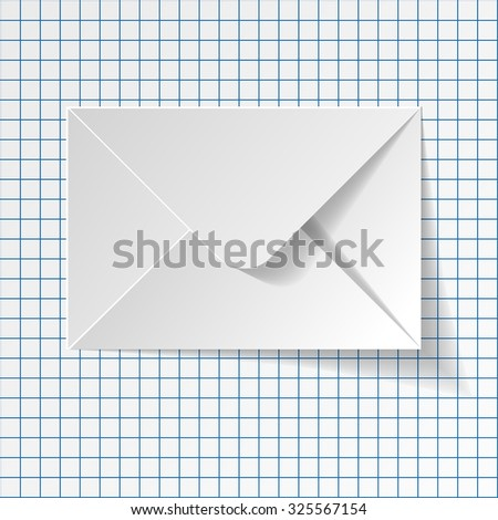 White envelope on a checkered paper background. - stock vector