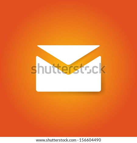 White envelope on orange background. Mail icon. Vector illustration. - stock vector