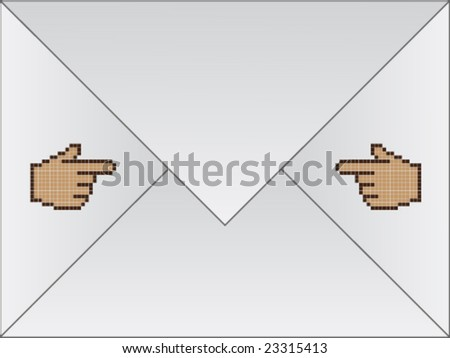 white envelope with cursor hands - stock vector