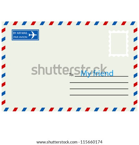 White  envelope with stamp. Vector illustration. - stock vector