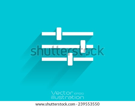 White equalizer icon on blue background - stock vector