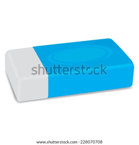 White eraser with blue wrapper vector on isolated white background - stock vector