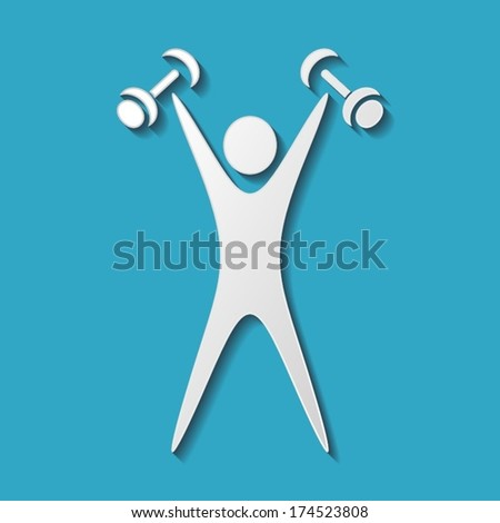 White exercising figure with dumbbells on blue background - stock vector