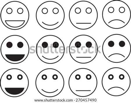 White face emotion icon - stock vector